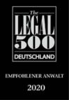 Empfohlener Anwalt der internationalen Research-Agentur The Legal 500